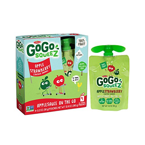 GoGo squeeZ Applesauce on the Go, Apple Strawberry, 3.2-Ounce Portable BPA-Free Pouches, 48 Pouches (12 Boxes with 4 Portable BPA-Free Pouches Each)
