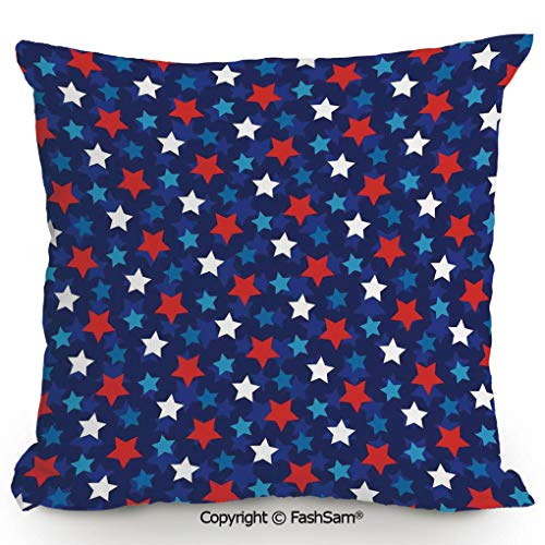FashSam Throw Pillow Covers American Flag Inspired Patriotic Design with Stars Image for Couch Sofa Home Decor(14