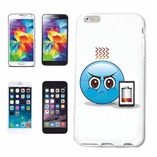 """cas de téléphone iPhone 5 / 5S """"MAD BLEU SMILEY AVEC BATTERIE VIDE MOBILE """"smile EMOTICON APP de SMILEYS SMILIES ANDROID IPHONE EMOTICONS IOS"""" Hard Case Cover Téléphone Covers Smart Cover pour Apple i"""