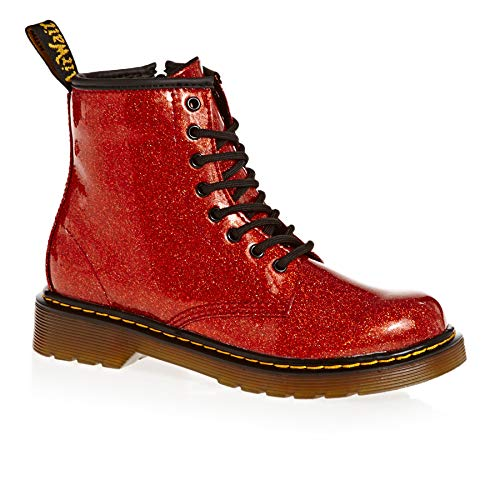Dr. Martens Kid's Collection Girl's 1460 Patent Glitter Junior Delaney Boot (Little Kid/Big Kid) Red Multi Coated Glitter 12 M UK -