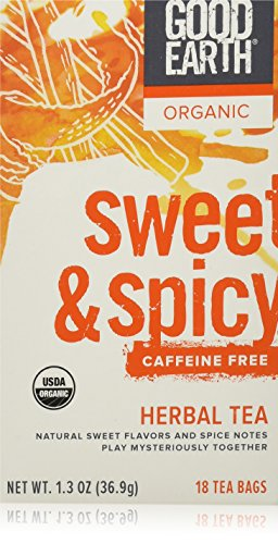Good Earth Teas Organic Sweet and Spicy Herbal Caffeine Free Tea Bag, 18 (Good Earth Sweet)