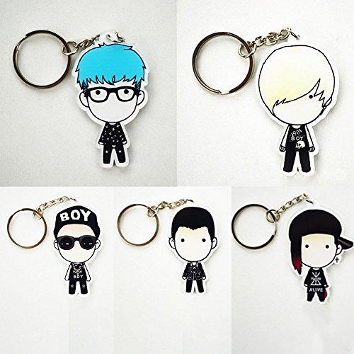Cute Cartoon Kpop Big Bang Keychain Key Ring Hot Gift for Fans, 5Pcs/Set (H07)