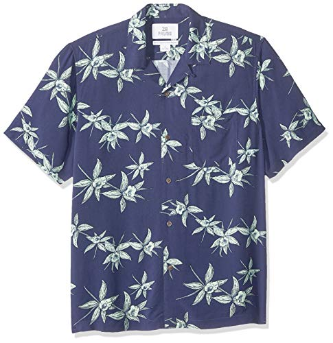 28 Palms Men's Standard-Fit Vintage Washed 100% Rayon Tropical Hawaiian Shirt, Navy/Light Green Floral, Medium