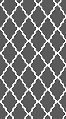 Super Area Rugs-Metro Collection-TREL01C Gray & White Contemporary Area Trellis Rug