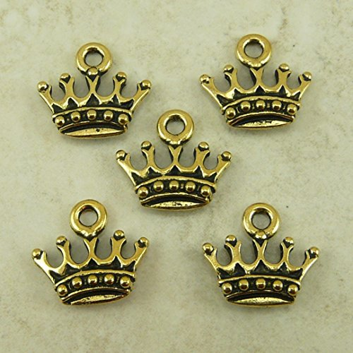 20 Gold Crown Charms 13x14mm Antique Gold Tone Metal Princess Crown Charm Pendant (Princess Gold Crown Charm)