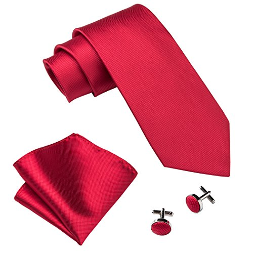 Red Tie Pocket Square Cufflinks Set Solid Color Neckties