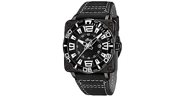 087f8957d9a8 Lotus 15793 1 - Reloj analógico para caballero de cuero negro  Amazon.es   Relojes