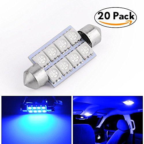 LEDKINGDOMUS 20 Pcs 42mm 8SMD Festoon LED Bulb Interior Map Dome Lights Bulbs 211-2 578, Color Blue Two Blue Led Lights