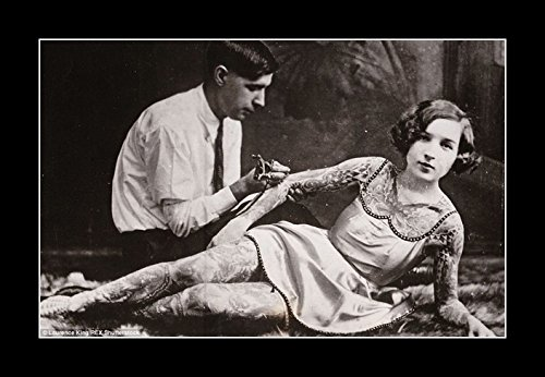 8 x 10 All Wood Framed Photo Tattoo Artist At Work On Female (1940 Tattoo)