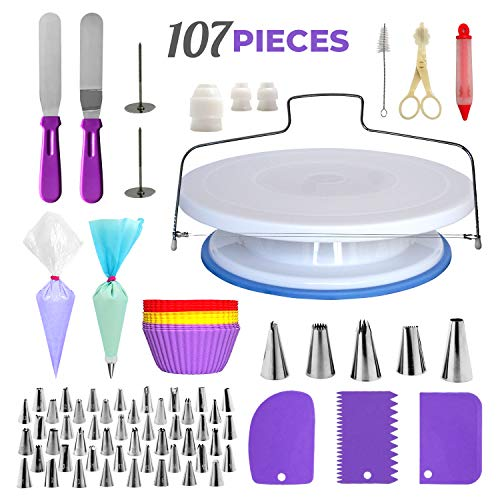 Cake Decorating Supplies Kit, 107 pieces - Cake Stand, Disposable and Reusable Piping Bags, Stainless Steel Piping Tips, Silicone Cupcake Molds, Cake Scrapers, Spatulas and many more baking supplies