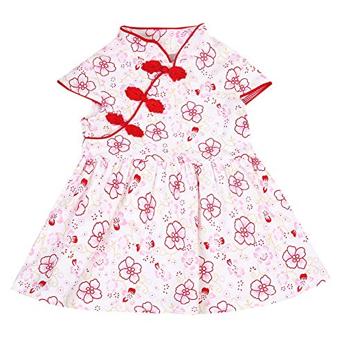Merqwadd Toddler Kids Girl Embroidery Qipao Chinese Cheongsam Tutu Dresses Party Wedding Dress (6-12M, Style 1) (Chinese Chinese Dress Dresses)