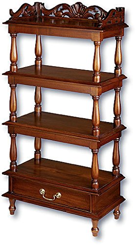 Laurel Crown Small Shell Carved Whatnot Shelves
