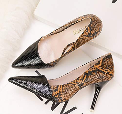 Retro Puntiagudos Serpiente Zapatos Liangxie Alto Negro Alto Y Sexy De Tacón Con 1qFqwIZn