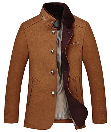 chouyatou Men's Gentle Band Collar Single Breasted Wool Blend Pea Coat (10Brown, X-Large) -