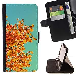 Momo Phone Case / Flip Funda de Cuero Case Cover - Oto?o Naranja Amarillo Hojas rama de árbol - Samsung Galaxy S5 Mini, SM-G800