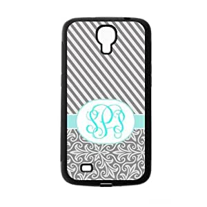Gray Vintage European Pattern & Gray White Stripes Cyan Monogram Initials Personalized Custom Samsung Galaxy Mega i9200 Best Rubber & Plastic Case by ruishername