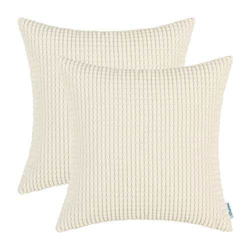 CaliTime Pack of 2 Comfy Throw Pillow Covers Cases for Couch Sofa Bed Comfortable Supersoft Corduroy Corn Striped Both Sides 24 X 24 Inches Cream