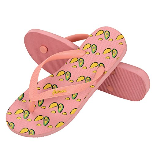 Aerusi Sep082041 Ocean Corte Serie Avokado Konstruktion Flip Flop Sandal Tofflor, Oss Kvinna Storlek 9,5-10,5 / Man Storlek 8-9