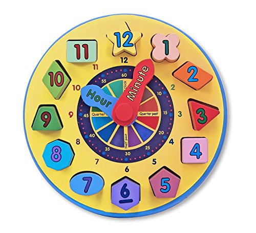 Melissa and Doug Wooden Shape Sorting Clock Educational Toy