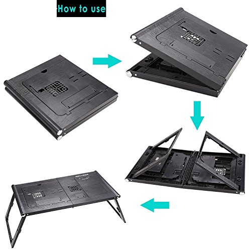 Adjustable Smart Table Folding Laptop Table with Built-in Rechargeable Power Bank and 2USB Ports by Dtemple (Image #5)