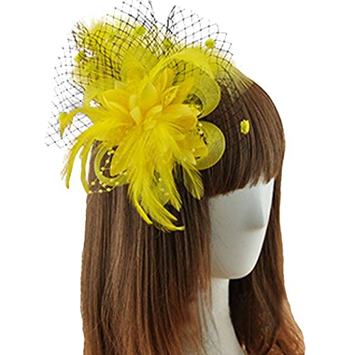 Coolr Fascinator Hair Clip Feather Wedding Headwear Bridal Headpiece for Women ( Yellow)
