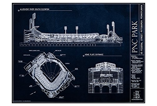 (PNC Park Blueprint Style Print (Unframed, 18