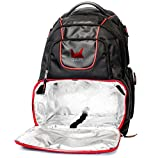 Meal Management Fitness Nutrition Backpack Bag Rugged with Cooler Lining Compartment Container Multiple Ventilated Storage Pockets Black and Red Review