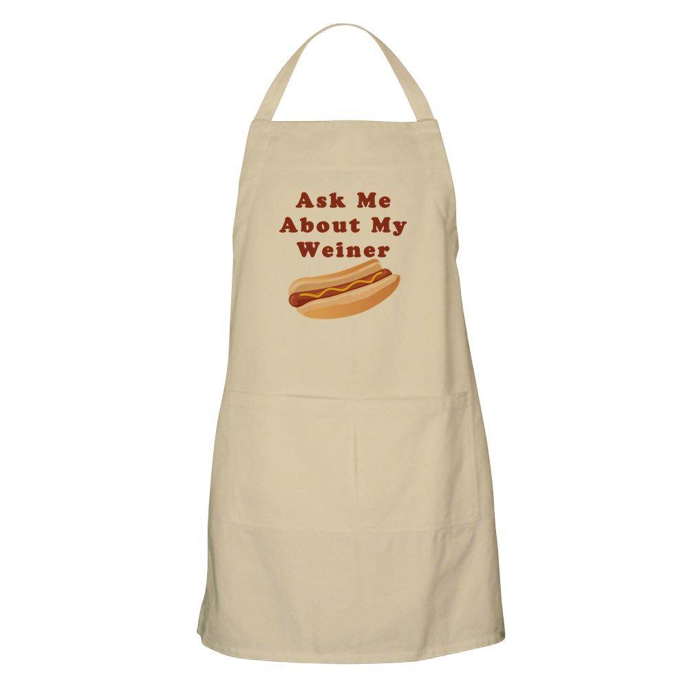 CafePress – Ask Me About My Weinerエプロン – キッチンエプロンポケット付き、グリルエプロン、Bakingエプロン ベージュ 062943297340D7A  カーキ B073RJL976