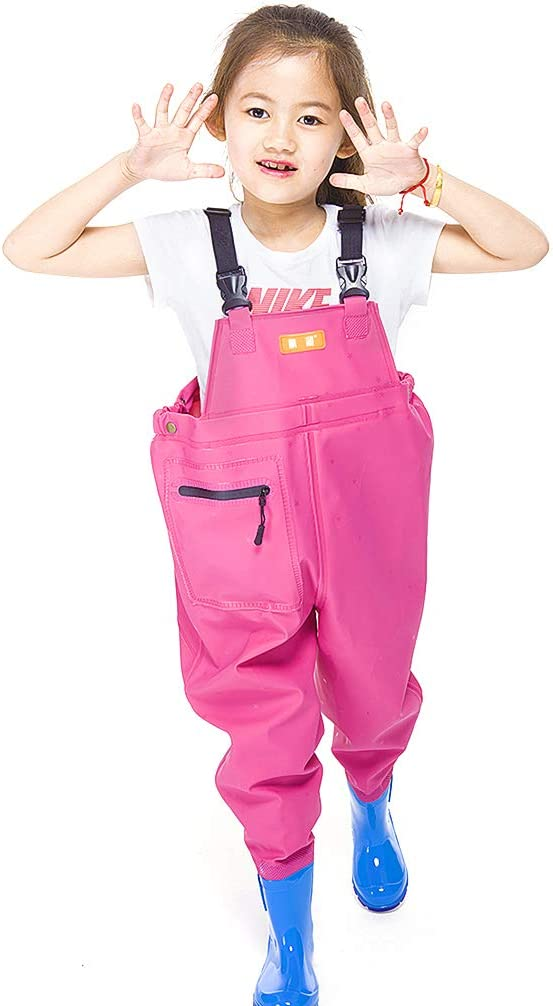 Soft Neoprene Bootfoot Waders with Elastic Waist Design and Cartoon Boots for Boys and Girls Luwint Chest Fishing Waders for Kids