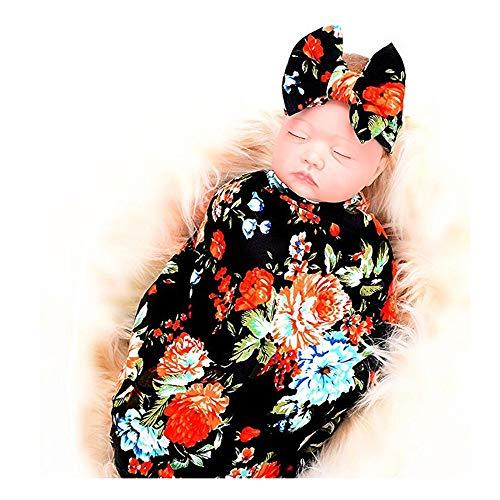 - Baby Receiving Blanket,Newborn Swaddle Blankets Set, Girl Floral Headband (Black Rose, 0-3 Months)