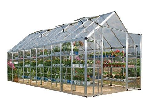 Palram HGK131 Snap & Grow Hobby Greenhouse w/Starter Kit, 8' x 20' x 9' Silver