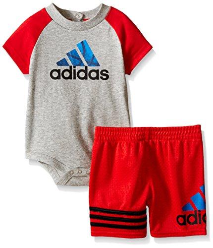 adidas Baby Boys' Body Shirt and Short Set, Grey Heather, 24 Months