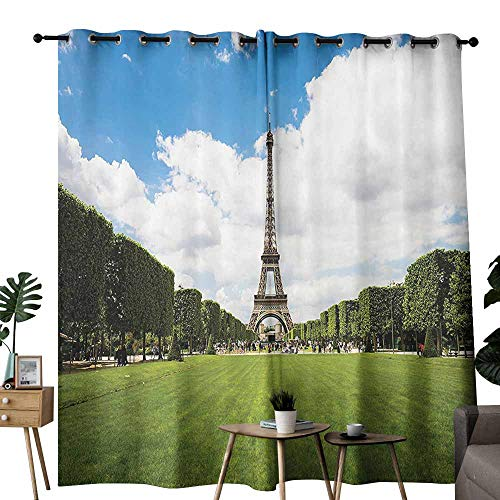Mannwarehouse Eiffel Tower Decor Collection Exquisite Curtain Eiffel Tower in Paris France European Touristic Urban Lifestyle Lawn Capital City Image 70%-80% Light Shading, 2 Panels,W108 x L96 Green]()
