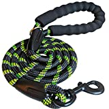 iYoShop Strong Dog Leash with Comfortable Padded Handle and Highly Reflective Threads Dog Leashes for Small Medium and Large Dogs, Black with Green, Medium Large (5 FT)