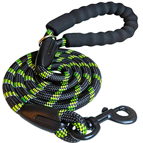 (iYoShop Strong Dog Leash with Comfortable Padded Handle and Highly Reflective Threads Dog Leashes for Small Medium and Large Dogs, Black with Green, Medium Large (5 FT))