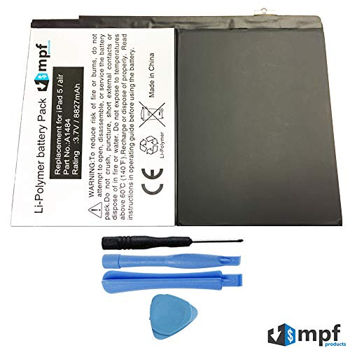 MPF Products 8827mAh A1484 Battery Replacement Compatible with iPad Air A1474, iPad Air A1475, iPad 5 (5th Generation) with Installation Tools
