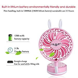 PAWACA Mini Handheld Fan,Foldable Personal Portable Fan Desk Desktop Table Cooling Fan with USB Rechargeable Battery Operated Electric Fan for Home Office Travel(Black)