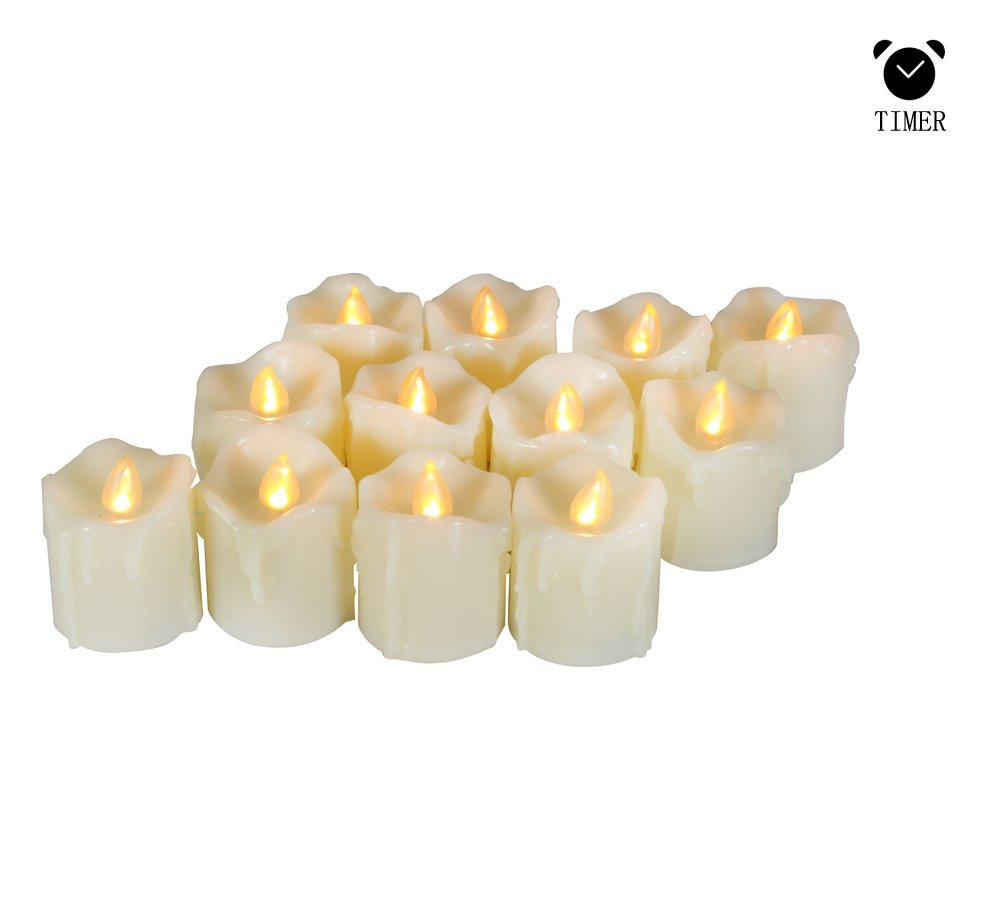 Flameless Candles - Flickering Realistic Led Votive Candles with Timer - 6Hrs on and 18 Hrs Off,Wax Dripped,Battery Operated Votive Candle,200+ Hours,Batteries Included,1.7'' Dx2 H[12 Pack]