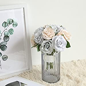 Lavany Artificial Flowers,Vintage Artificial Roses Flower Leaf For Wedding Home Party Decoration,1 Bouquet 8 Heads 99