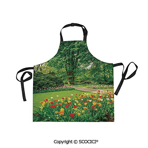 SCOCICI Adjustable Bib Apron Waterdrop Resistant Cooking Kitchen Aprons,Garden in Keukenhof Colorful Tulip Flowers and Trees Foliage Spring in Netherlands,for Women Men Chef Baking Gardening ()