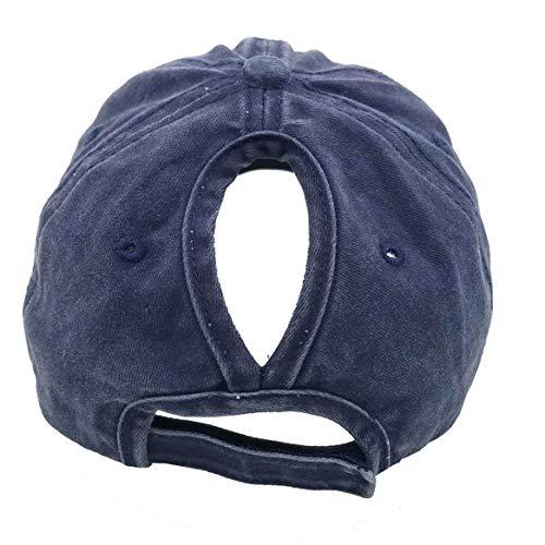 4e3d9555 Eohak Distressed-Washed Ponytail Baseball Hat - Women Men High Messy bun Baseball  Cap Retro