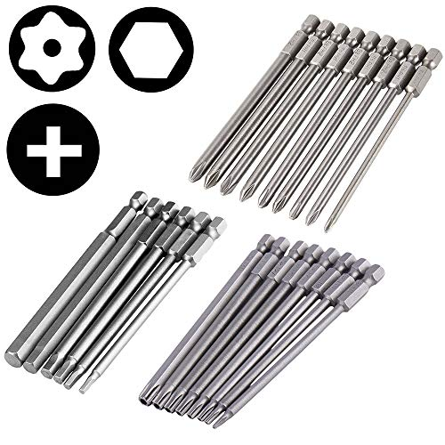 Yakamoz 23Pcs Long Magnetic Screwdriver Bit Set Drill Screw Driver Power Tools Kit | 8pcs Torx Security, 9pcs Cross Phillips, 6pcs Hexagon Hex Head | Quick Change 1/4-Inch Hex Shank | 4-Inch Length