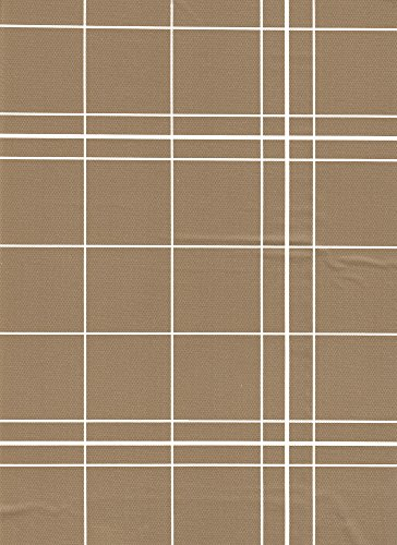 White Lines Flannelback Vinyl Tablecloth in Brown, 52x52 Square (Square Vinyl Tablecloth Brown)