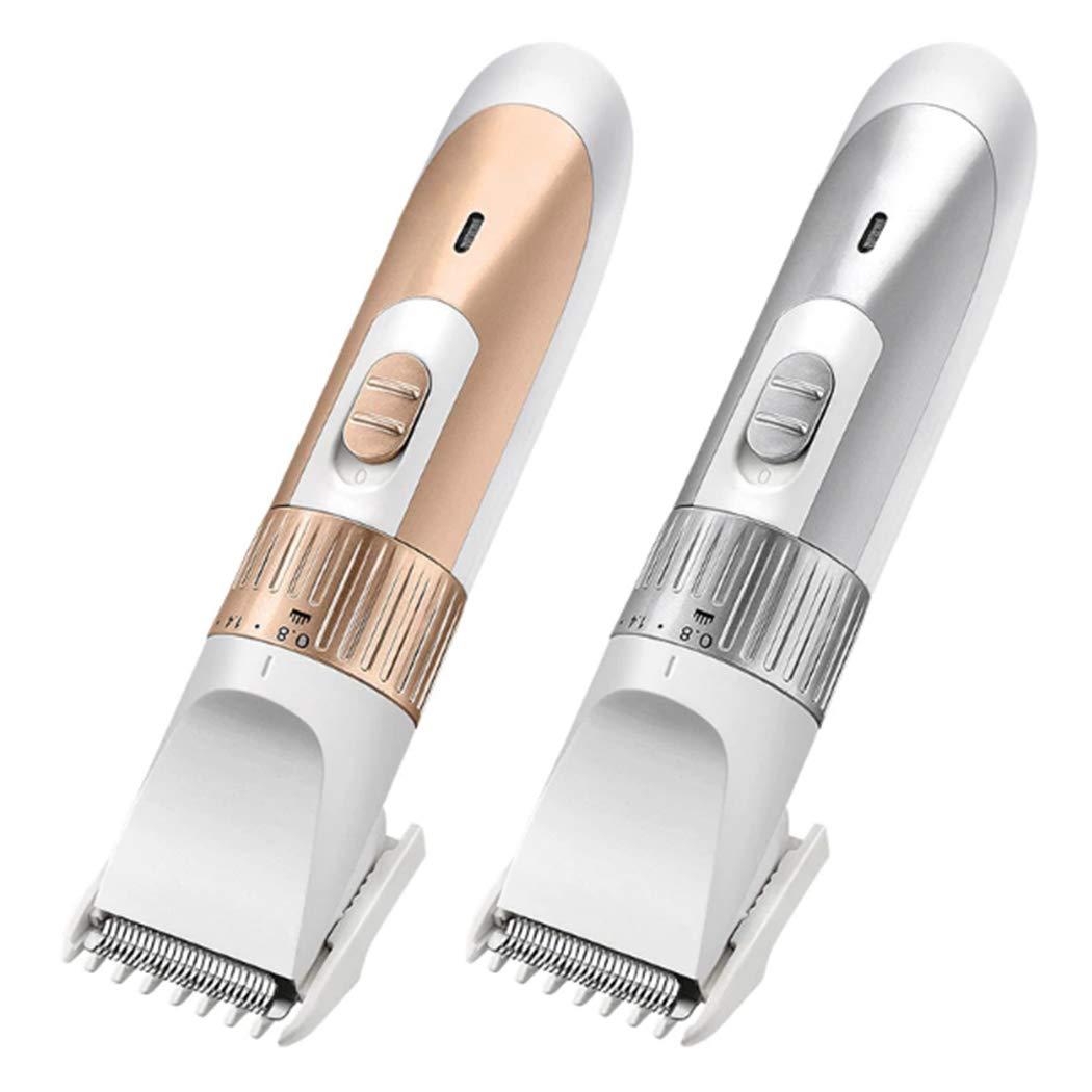 biuday Cortadoras de cabello eléctricas para hombres, batería/máquina de afeitar eléctrica recargable Trimmer para adultos y niños Kits de herramientas de corte de cabello sin cable (Plata)