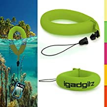 iGadgitz 1 Pack Standard Green Waterproof Floating Wrist Strap suitable for Fujifilm FinePix XP Series Tough XP10, XP20, XP30, XP50, XP51, XP60 & XP80 Cameras
