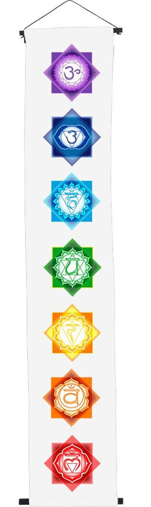 Chakras Rainbow on White Cotton Banner by Imprints Plus 17'' x 47'' Inspirational Wall Sign Includes 2 Worry Stones in Pouch, Mounting Hardware and Instructions (57196)