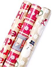 Hallmark Christmas Reversible Wrapping Paper (Merry Holiday, 3 Pack)