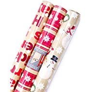 Hallmark Reversible Christmas Wrapping Paper Bundle, Merry Holidays (Pack of 3, 120 sq. ft. ttl.)