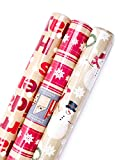 Hallmark Reversible Christmas Wrapping Paper Bundle (Pack of 3; 120 sq. ft. ttl.) Brown and Red, Merry Holidays, Snowflakes, Dots, Snowmen