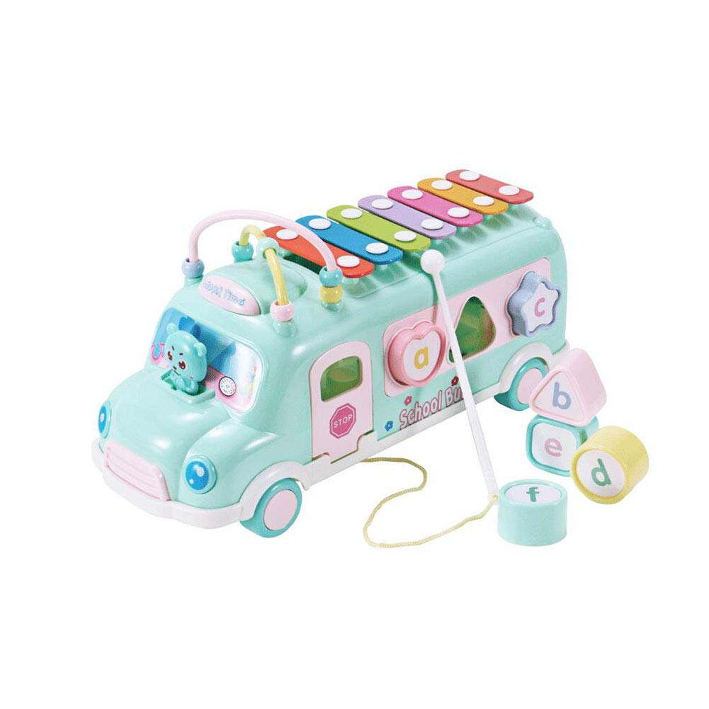 Dall Xylophone Wooden Shape Sorter Car Pull Along Truck Toy Knock Piano Music Toy Piano Music for Children